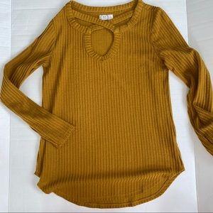 Mustard twist front long sleeve waffle shirt